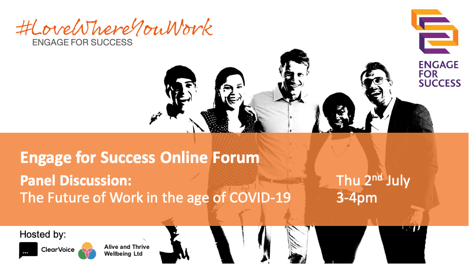 Engage for Success Online Forum 2 July, ClearVoice, Silke Brittain, Future of Work, Panel Discussion, EFS